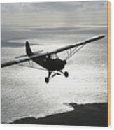 Piper L-4 Cub In Us Army D-day Colors Wood Print