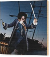 Pirate With A Treasure Chest Wood Print