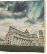 Pisa Cathedral With The Leaning Tower Of Pisa, Tuscany, Italy. Vintage Wood Print