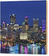 Pittsburgh Night Skyline Wood Print