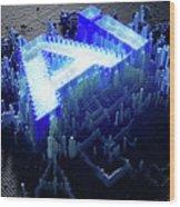 Pixel Artificial Intelligence Wood Print