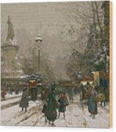 Place De La Republique In Winter Wood Print