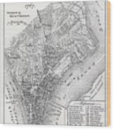 Plan Of The City Of New York Wood Print