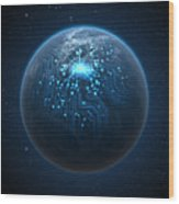 Planet With Illuminated Network Wood Print