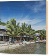 Polluted Dirty Beach With Garbage Rubbish In Koh Rong Island Cam Wood Print