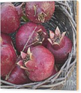 Pomegranates In A Basket Wood Print