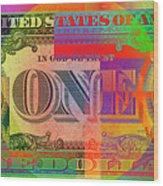 Pop-art Colorized One U. S. Dollar Bill Reverse Wood Print