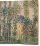 Poplars At Giverny, Sunrise Wood Print