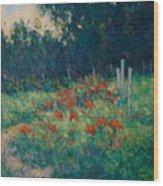 Poppy Garden Wood Print