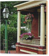Porch With Hanging Plants Wood Print