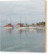Port With Sailboat And Fishing Boat Wood Print