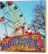 Portable Ferris Wheel Victorian Winter Fair Wood Print