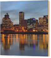 Portland Oregon At Dusk. Wood Print by Gino Rigucci