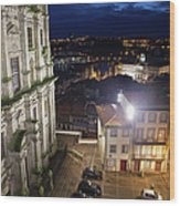 Porto By Night In Portugal Wood Print