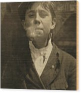 Portrait Of A Boy Smoking A Pipe Wood Print by Everett