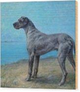Portrait Of A Great Dane Wood Print