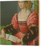 Portrait Of A Woman With A Book Of Music Wood Print