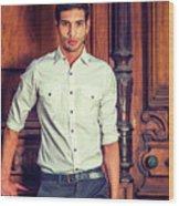 Portrait Of Young Businessman. Wood Print