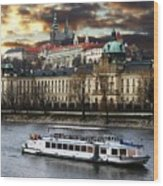 Prague By The Water Wood Print