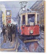 Prague Old Tram 03 Wood Print