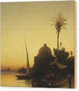 Praying To Mecca Wood Print by Herman David Salomon Corrodi