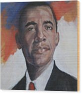 President Barack Obama Wood Print by Synnove Pettersen