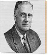 President Franklin Roosevelt Graphic  Wood Print