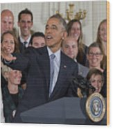 President Obama Honors Us Womens Soccer Team At White House #2 Wood Print