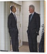 President Obama Talks With Former Wood Print