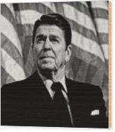 President Ronald Reagan Speaking - 1982 Wood Print