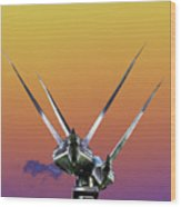 Psychedelic Metal Sculpture Of Two Swans Flying Wood Print
