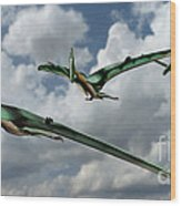 Pterodactyls In Flight Wood Print