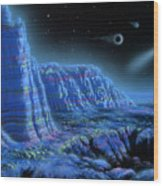 Pulsar Planets II Wood Print by Lynette Cook