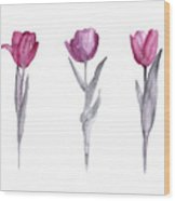 Purple Tulips Watercolor Painting Wood Print