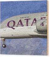 Qatar Airlines Airbus A380 Art Wood Print