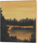 Quiet Sunset Wood Print by Rebecca  Fitchett