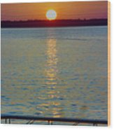 Quite Pier Sunset Wood Print
