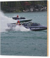 Racing Hydroplanes Boats On The Detroit River For Gold Cup Wood Print