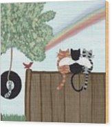 Rainbow Bridge Cats Wood Print