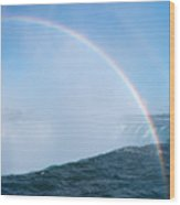 Rainbow Over Niagara Falls Horseshoe Waterfall Wood Print