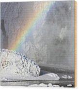 Rainbow Over Skogarfoss Waterfall Wood Print