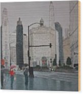 Rainy Day Chicago Wood Print