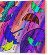 Rainy Day Love Wood Print