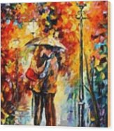 Rainy Kiss Wood Print