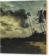 Rainy Seashore Wood Print
