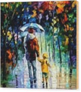 Rainy Walk With Daddy Wood Print