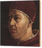 Raphael Pope Leo X With Cardinals Giulio De  Medici And Luigi De  Rossi  Wood Print