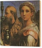 Raphael St Cecilia With Sts Paul John Evangelists Augustine And Mary Magdalene  Wood Print