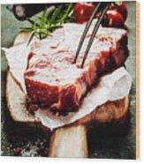 Raw Beef Steak And Wine Wood Print