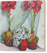 Red Amaryllis With Shooting Star Hydrangea Wood Print